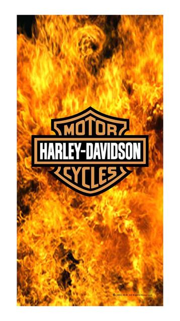 Harley-Davidson Flaming Fire Bar & Shield Logo Beach Towel, 30 x 60 inch, 16129 - Wisconsin Harley-Davidson