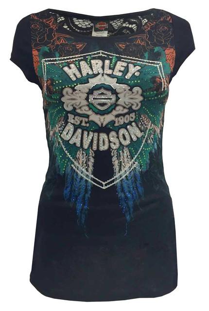 Harley-Davidson Women's Rose Wings Short Sleeve Tee, Embellish Print & Lace Back - Wisconsin Harley-Davidson