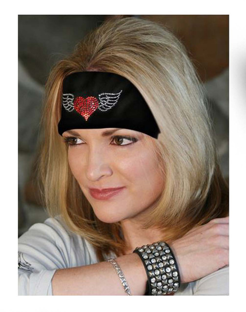 That's A Wrap Bling Knotty Band, Embellished Winged Heart, Black KB3321 - Wisconsin Harley-Davidson