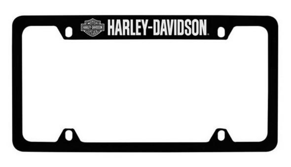 Harley-Davidson Bar & Shield H-D Script License Plate Frame Black HDLFZK18-U - Wisconsin Harley-Davidson