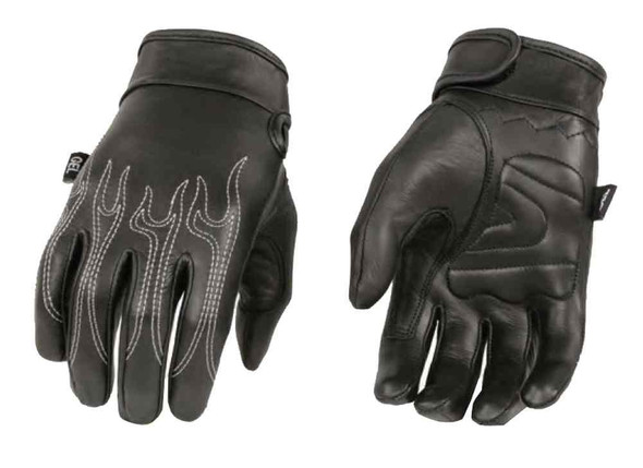 Milwaukee Leather Men's Premium Flaming Leather Cruiser Gloves, Black SH820 - Wisconsin Harley-Davidson