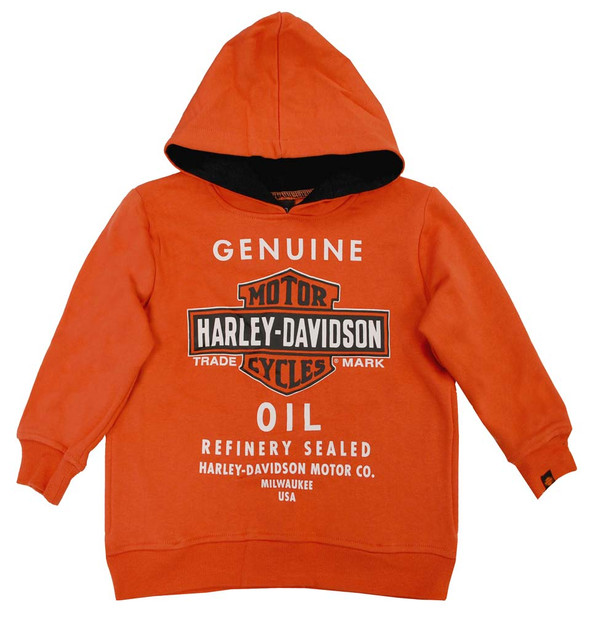 Harley-Davidson Little Boys' Genuine Bar & Shield Oil Fleece Hoodie 0271394 - Wisconsin Harley-Davidson