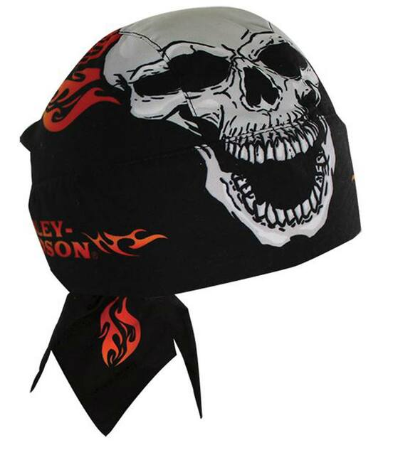 Harley-Davidson Devour Skull With Red Flames Black Head Wrap HW129830 - Wisconsin Harley-Davidson
