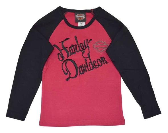 Harley-Davidson Big Girls' Tee, H-D Script Long Sleeve Rib Shirt, Red 4241400 - Wisconsin Harley-Davidson