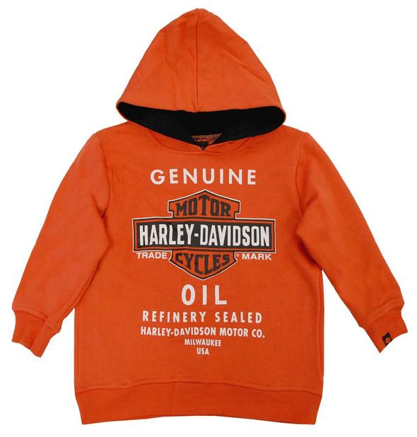 Harley-Davidson Big Boys' Orange Genuine Bar & Shield Oil Hoodie 0291394 - Wisconsin Harley-Davidson