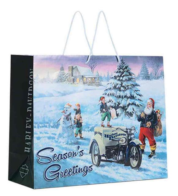 Harley-Davidson Holiday Biker Santa Gift Bag, Blue 13 x 16 x 6 inch. 96854-16V - Wisconsin Harley-Davidson