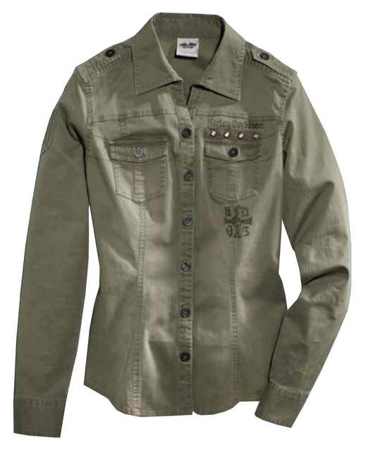 Harley-Davidson Women's Vintage Wash Twill Long Sleeve Shirt, Green 96112-16VW - Wisconsin Harley-Davidson