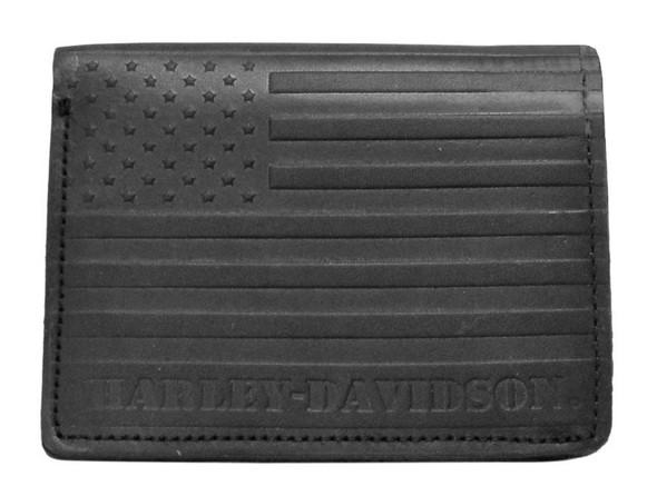 Harley-Davidson Men's Classic Flag Biker Tri-Fold Blk Leather Wallet US1797L-BLK - Wisconsin Harley-Davidson