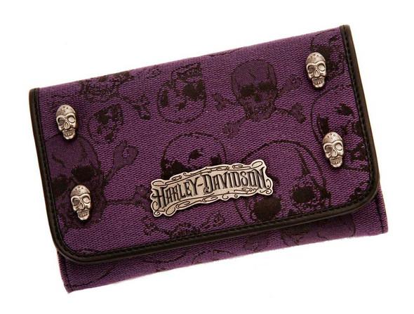 Harley-Davidson Women's Wallet, Skull Jacquard Wallet, Purple SJ2199J-PURBLK - Wisconsin Harley-Davidson