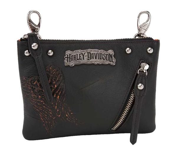 Harley-Davidson Women's Hip Bag Purse, Punk H-D, Black Leather PK9237L-ORGBLK - Wisconsin Harley-Davidson