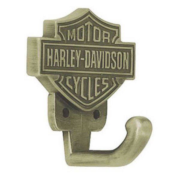 Harley-Davidson Bar & Shield Hook, Antique Brass HDL-10106 - Wisconsin Harley-Davidson