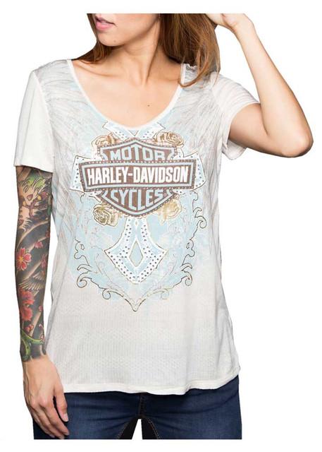 Harley-Davidson Women's Shirt, Tropical Short Sleeve Tee, Birch Beige HD130BIR - Wisconsin Harley-Davidson
