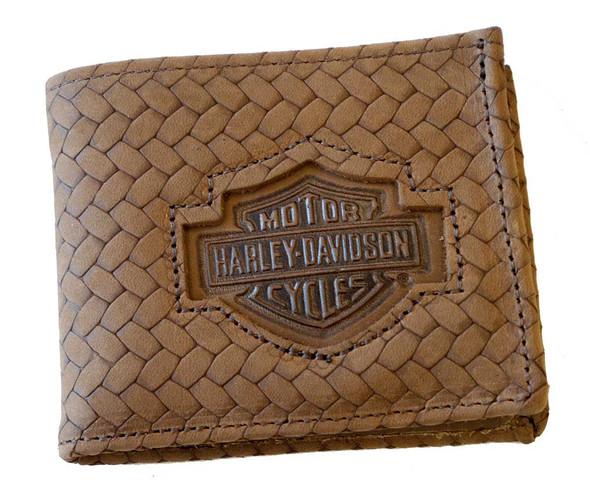 Harley-Davidson Men's Bar & Shield Basket Weave Billfold Wallet Brown CH333 - Wisconsin Harley-Davidson
