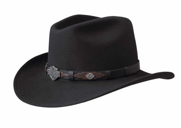 Harley-Davidson Men's Crushable Wool Cowboy Western Hat HD-18-BLK (Black) - Wisconsin Harley-Davidson