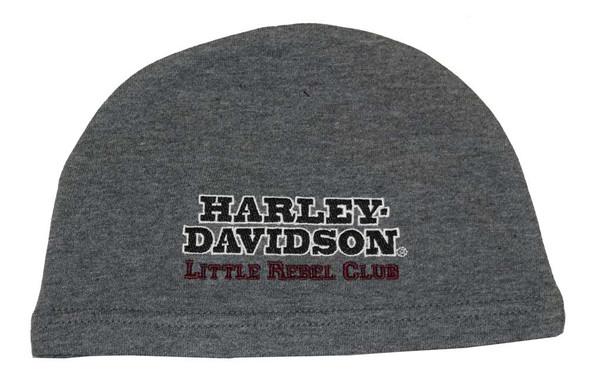 Harley-Davidson Baby Boys' Fleece Beanie, Little Rebel Newborn Cap Gray 4350402 - Wisconsin Harley-Davidson