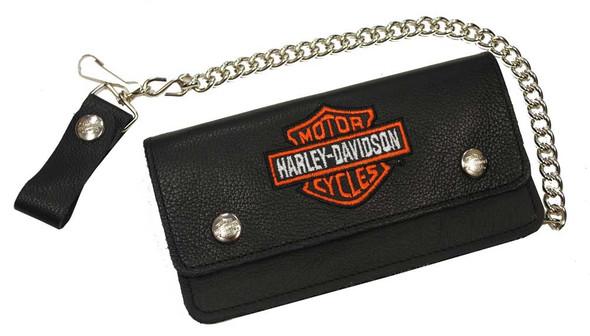 Harley-Davidson Men's Embroidered Bar & Shield Biker Chain Wallet Black BW816H-2 - Wisconsin Harley-Davidson
