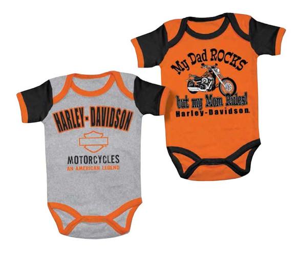 Harley-Davidson Baby Boys' Mom Rules Creeper Set, 2 Pack, Black/Orange 3050553 - Wisconsin Harley-Davidson