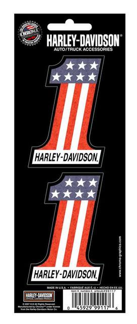 Harley-Davidson #1 Red White Blue 2-Piece Holographic Decals, 3 x 2 In.CG99117 - Wisconsin Harley-Davidson