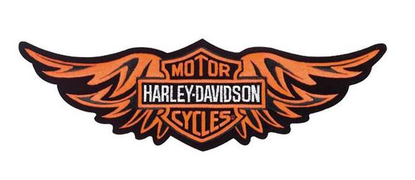 Harley-Davidson Straight Wing Small Orange Patch 5-13/16'' x 1-13/16'' EMB339812 - Wisconsin Harley-Davidson