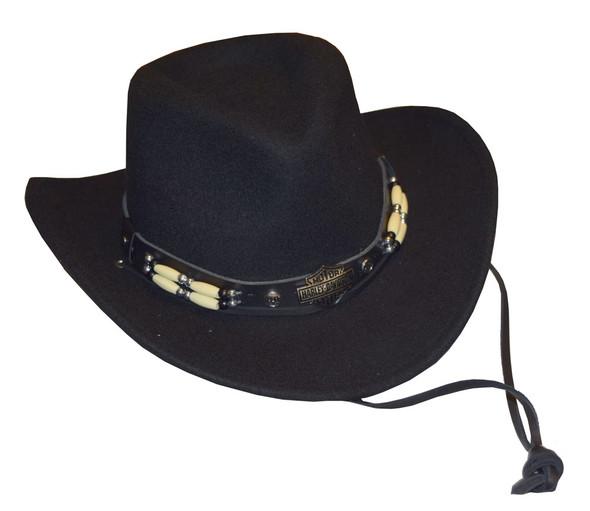 Harley-Davidson Women's Crushable Wool Hat, Fancy Beaded Band, Black HD-205-BLK - Wisconsin Harley-Davidson