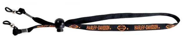 Harley-Davidson Men's Croakie, Orange Bar & Shield Logos, Black HDL B&S - Wisconsin Harley-Davidson