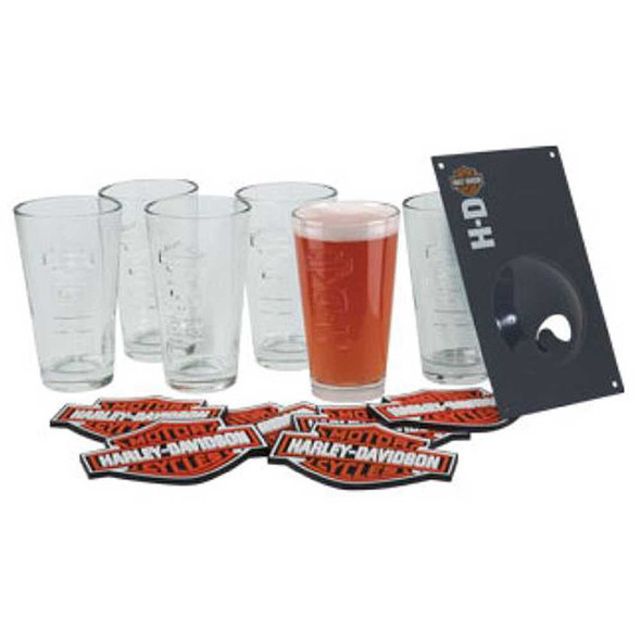 Harley-Davidson Bar & Shield Embossed Pint Glass Set HDL-18720 - Wisconsin Harley-Davidson