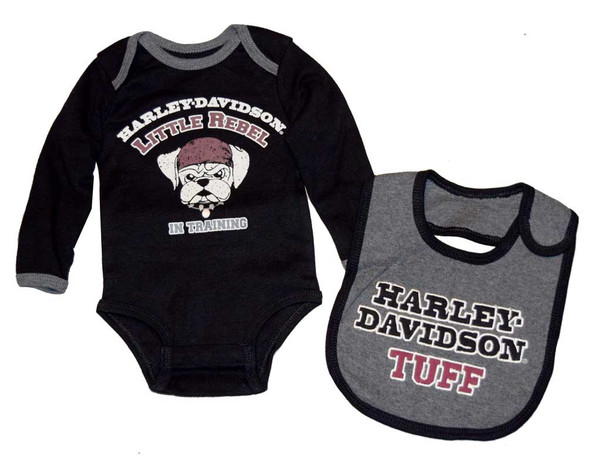 Harley-Davidson Baby Boys' Creeper & Bib Set, Little Rebel Gift Set 4362396 - Wisconsin Harley-Davidson