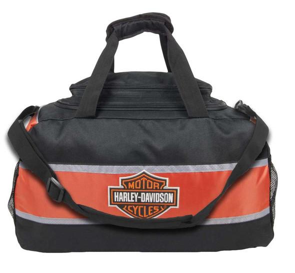 Harley-Davidson Deluxe Embroidered Bar & Shield Striped Duffel Bag Black 0480460 - Wisconsin Harley-Davidson