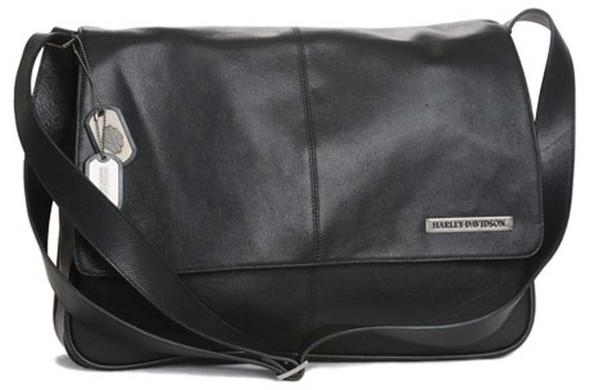 Harley-Davidson Men's Logo Dog Tag Messenger Bag Black Leather MN5063L-Black - Wisconsin Harley-Davidson