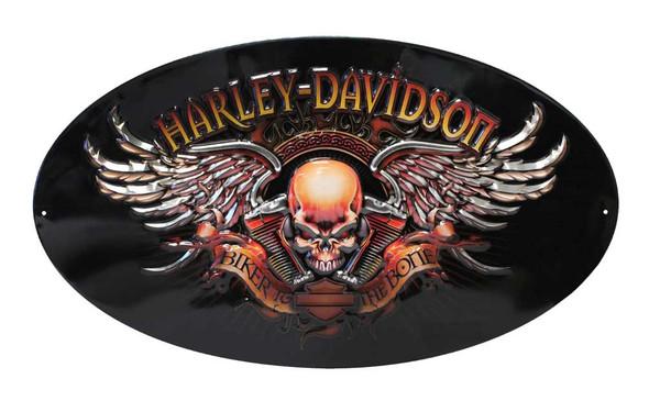 Harley-Davidson Oval Tin Sign, Biker To The Bone Winged Skull, Black 2010441 - Wisconsin Harley-Davidson