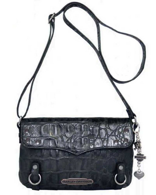 Harley Davidson Womens Black Hammered Croco Crossbody Bag Purse HC7963L-BLK - Wisconsin Harley-Davidson