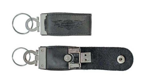 Harley-Davidson Key Chain, Metal 8GB USB w/ Leather Case, Bar & Shield KY01830 - Wisconsin Harley-Davidson