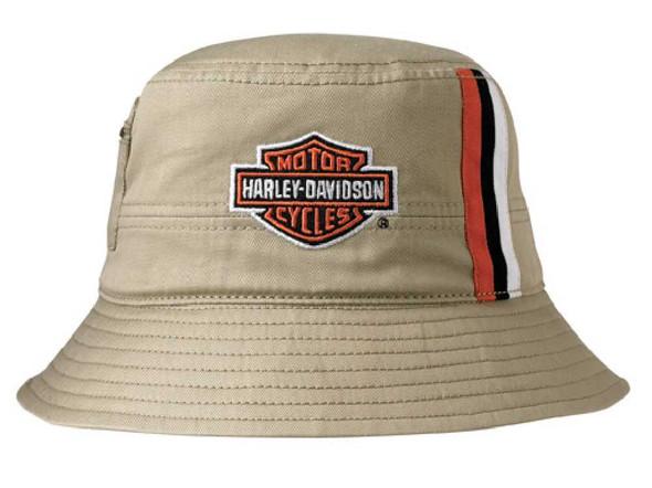Harley-Davidson Mens Khaki Stripes Bucket Hat HD-428 - Wisconsin Harley-Davidson
