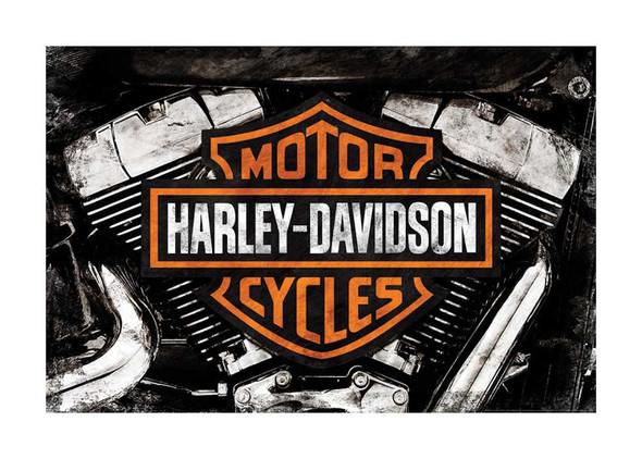 Harley-Davidson Twin Cam Poster, Bar & Shield V-Twin Engine, 24 x 36 in HDFA0202 - Wisconsin Harley-Davidson