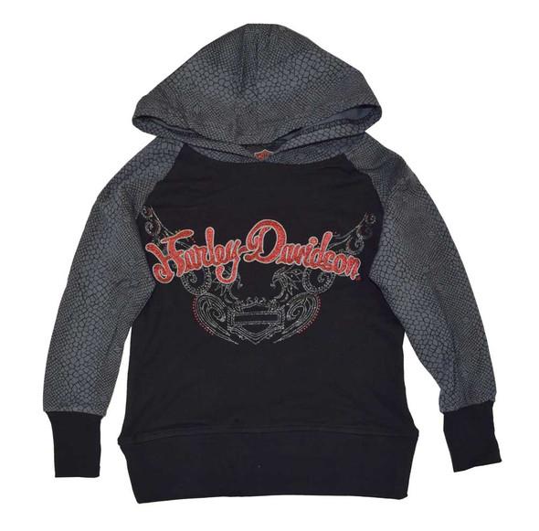 Harley-Davidson Big Girls' Pullover Hoodie, HD Reptile Print, Black 4241392 - Wisconsin Harley-Davidson