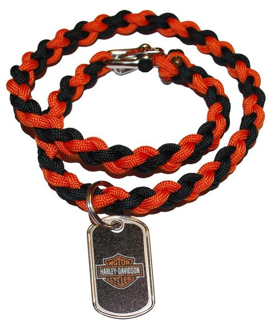 Harley-Davidson Survival Necklace Steel Clasp 21'' Black & Orange 201106611 - Wisconsin Harley-Davidson
