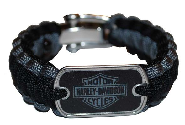 Harley-Davidson Regular Survival Bracelet Steel Black/Grey Size 7.5'' 201106649 - Wisconsin Harley-Davidson