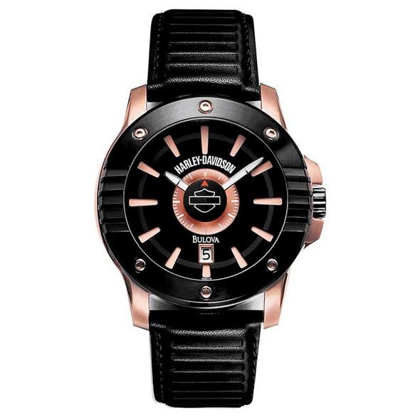 Harley-Davidson Men's Bulova Copper & Black Wrist Watch. 78B115 - Wisconsin Harley-Davidson