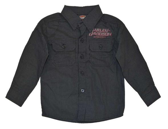 Harley-Davidson Big Boys' Shop Shirt, H-D Long Sleeve Striped, Black 4391586 - Wisconsin Harley-Davidson