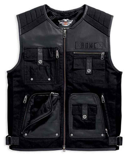 Harley-Davidson Men's Leather & Textile Multi-Pocketed Vest, Black. 97078-16VM - Wisconsin Harley-Davidson