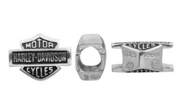 Harley-Davidson Full Text Bar & Shield Sterling Silver Ride Bead HDD0001 - Wisconsin Harley-Davidson