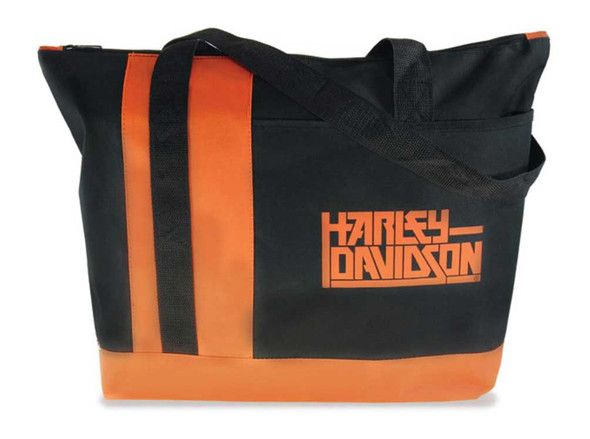 Harley-Davidson H-D Script Control Tote Bag - Black & Orange TB125664 - Wisconsin Harley-Davidson