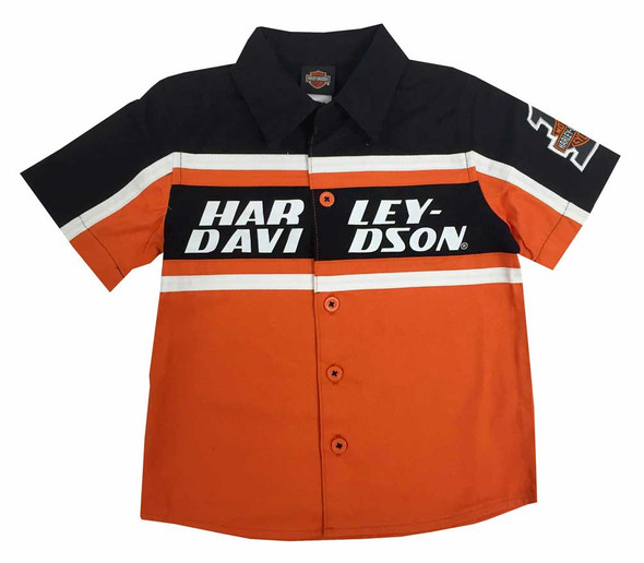 Harley-Davidson Little Boys' Button Front Twill Shop Shirt Orange/Black 1072527 - Wisconsin Harley-Davidson