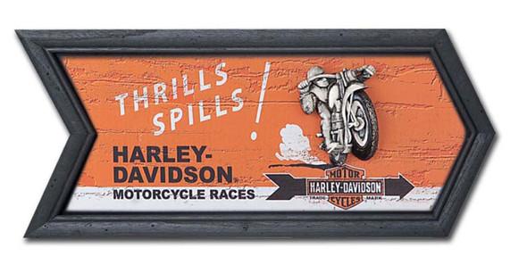Harley-Davidson Racer Pub Sign Black Wood Frame, 21.25'' W x 9'' H HDL-15305 - Wisconsin Harley-Davidson