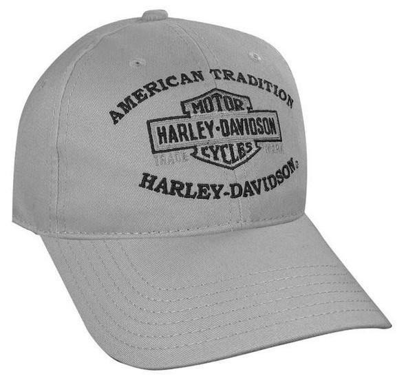 Harley-Davidson Long Bar & Shield Grey Baseball Cap BC31254 - Wisconsin Harley-Davidson