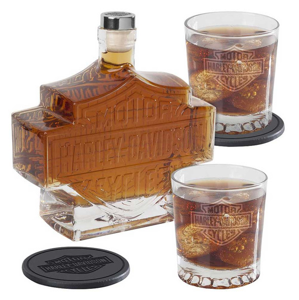 Harley-Davidson Bar & Shield Logo Decanter Set, Hand Blown Set HDL-18746 - Wisconsin Harley-Davidson