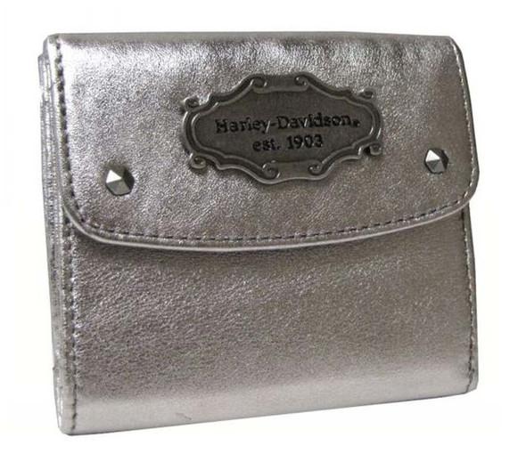 Harley-Davidson Women's Metallic Leather Taxi Wallet, Silver. MT7692L-SILVER - Wisconsin Harley-Davidson