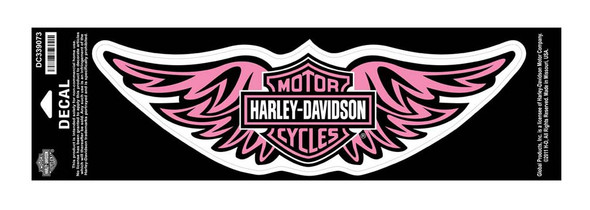 Harley-Davidson Straight Wing Medium Pink Decal, 12'' W x 3-1/2'' H DC339073 - Wisconsin Harley-Davidson