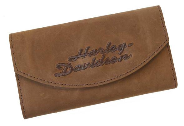 Harley-Davidson Women's Embroidered H-D script Organizer Wallet Brown CH810 - Wisconsin Harley-Davidson
