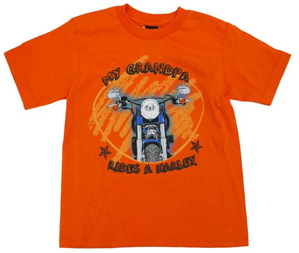 Harley-Davidson Little Boys' Grandpa Rides A Harley T-Shirt Orange - Wisconsin Harley-Davidson